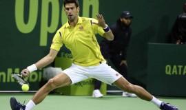 Djokovic tiếp nối chuỗi trận thành công mùa trước bằng chiến thắng trước Dustin Brown tại Qatar Open. Ảnh: AFP.